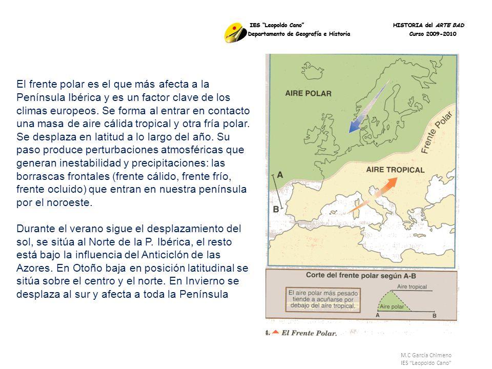 El frente polar es el que más afecta a la Península Ibérica y es un factor clave de los climas europeos. Se forma al entrar en contacto una masa de aire cálida tropical y otra fría polar. Se desplaza en latitud a lo largo del año. Su paso produce perturbaciones atmosféricas que generan inestabilidad y precipitaciones: las borrascas frontales (frente cálido, frente frío, frente ocluido) que entran en nuestra península por el noroeste. Durante el verano sigue el desplazamiento del sol, se sitúa al Norte de la P. Ibérica, el resto está bajo la influencia del Anticiclón de las Azores. En Otoño baja en posición latitudinal se sitúa sobre el centro y el norte. En Invierno se desplaza al sur y afecta a toda la Península