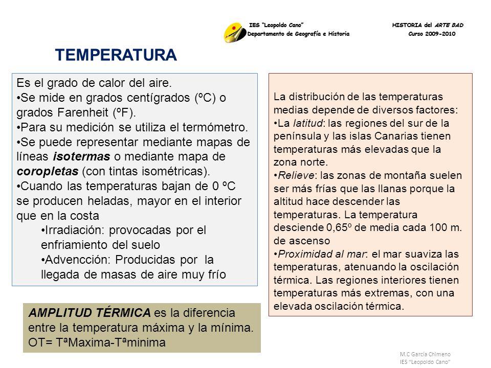 TEMPERATURA Es el grado de calor del aire.