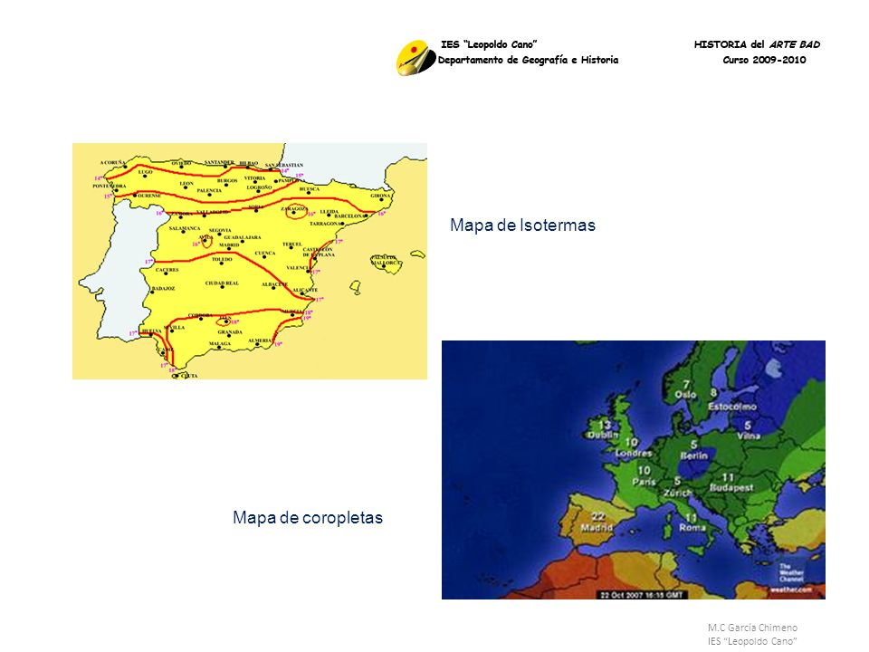 Mapa de Isotermas Mapa de coropletas M.C García Chimeno
