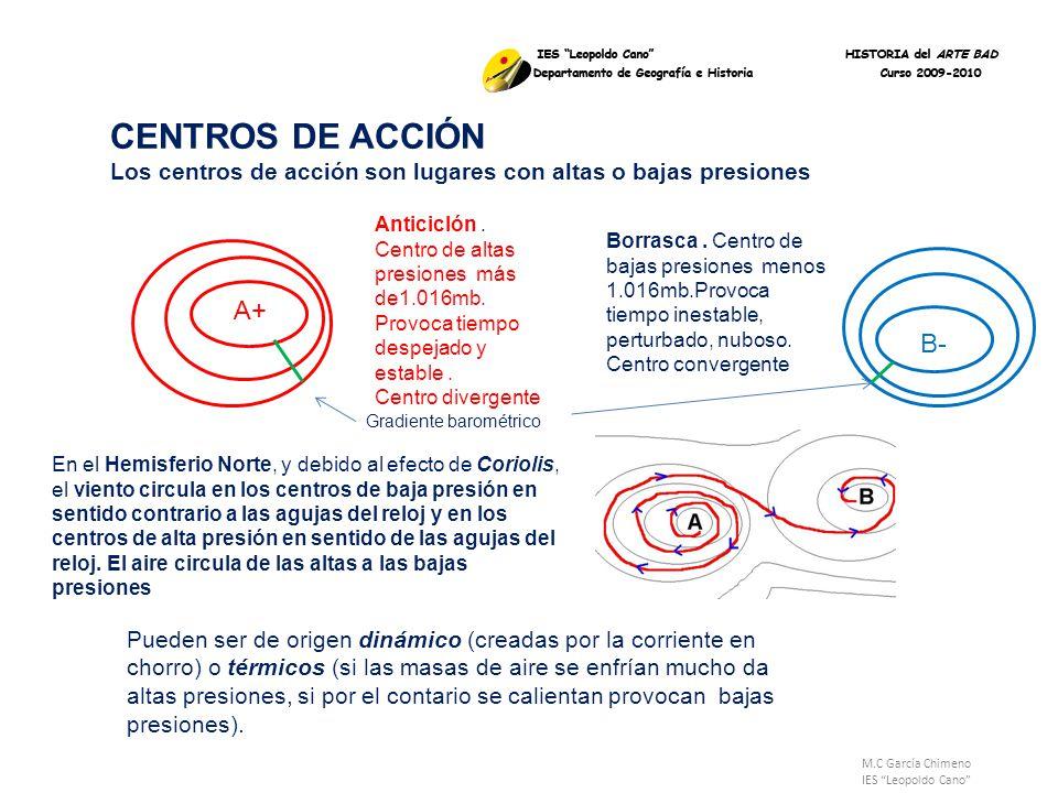 CENTROS DE ACCIÓN Los centros de acción son lugares con altas o bajas presiones.
