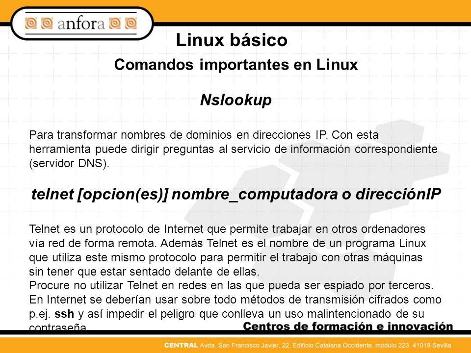 Linux básico Comandos importantes en Linux Nslookup
