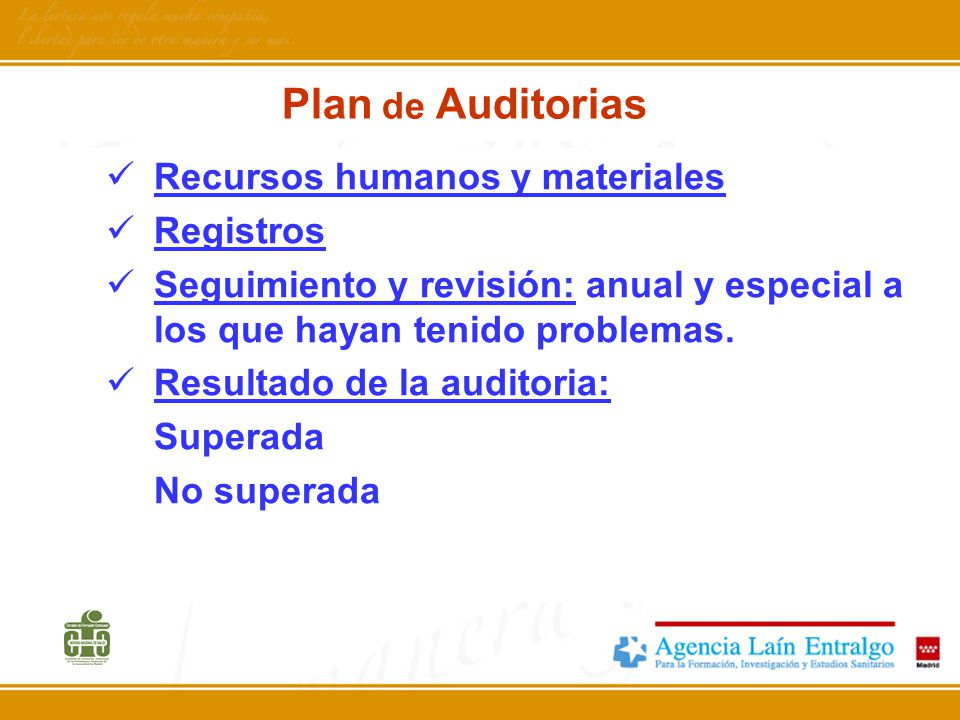 Plan de Auditorias Recursos humanos y materiales Registros