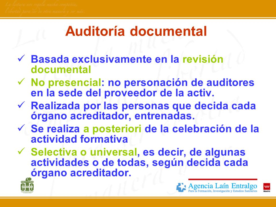 Auditoría documental Basada exclusivamente en la revisión documental