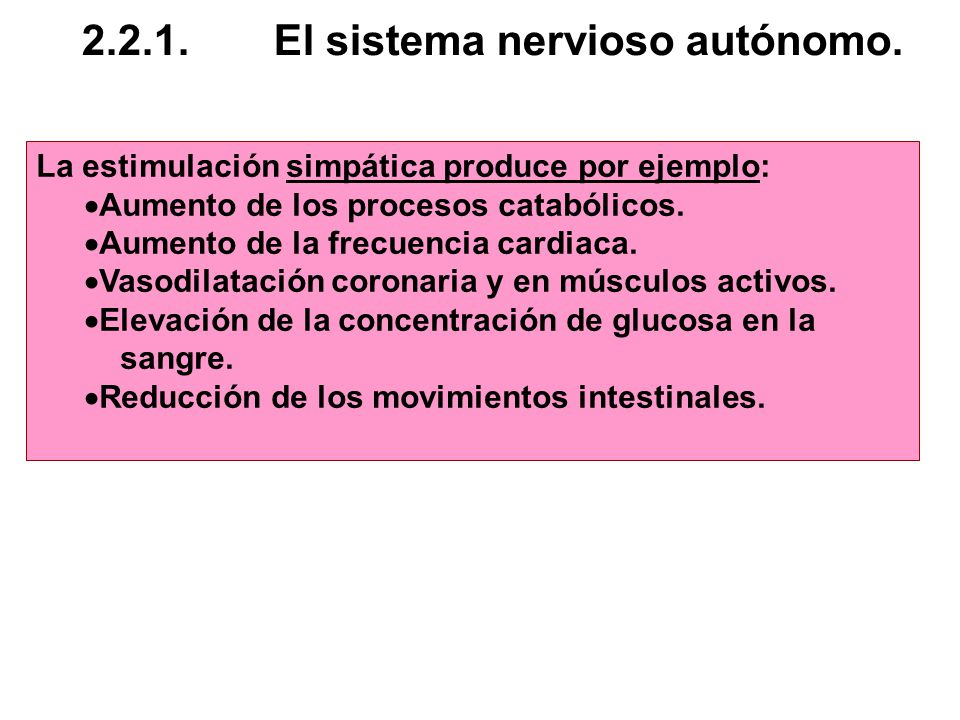 2.2.1. El sistema nervioso autónomo.