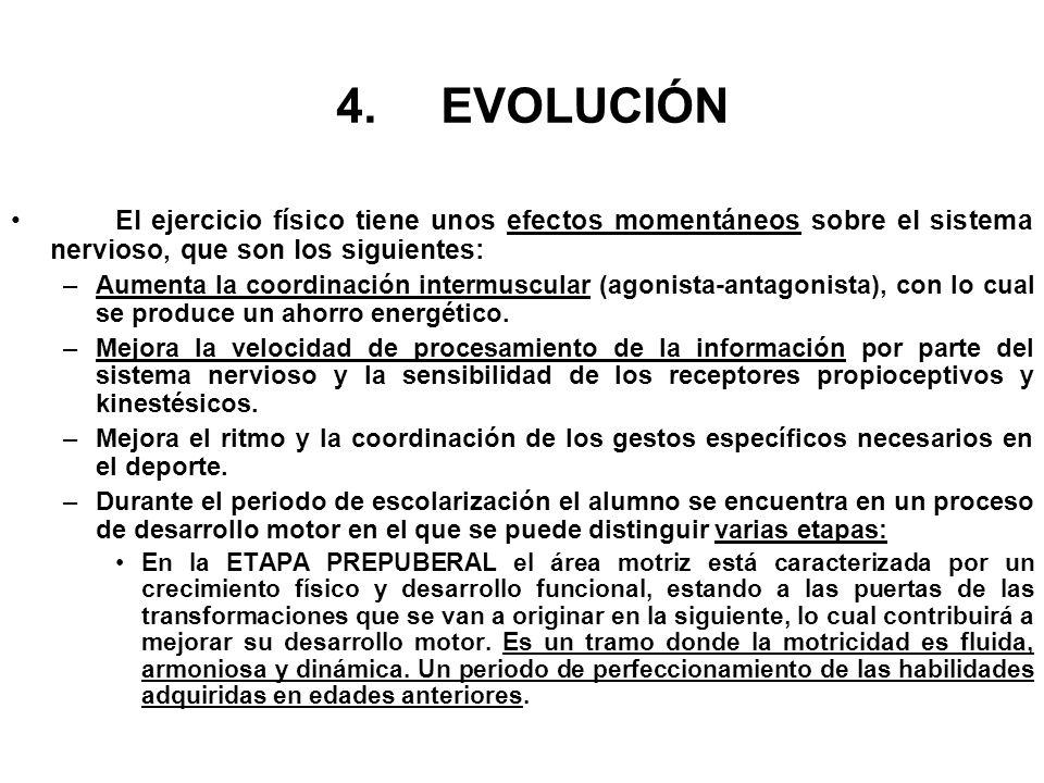 4. EVOLUCIÓN El ejercicio físico tiene unos efectos momentáneos sobre el sistema nervioso, que son los siguientes: