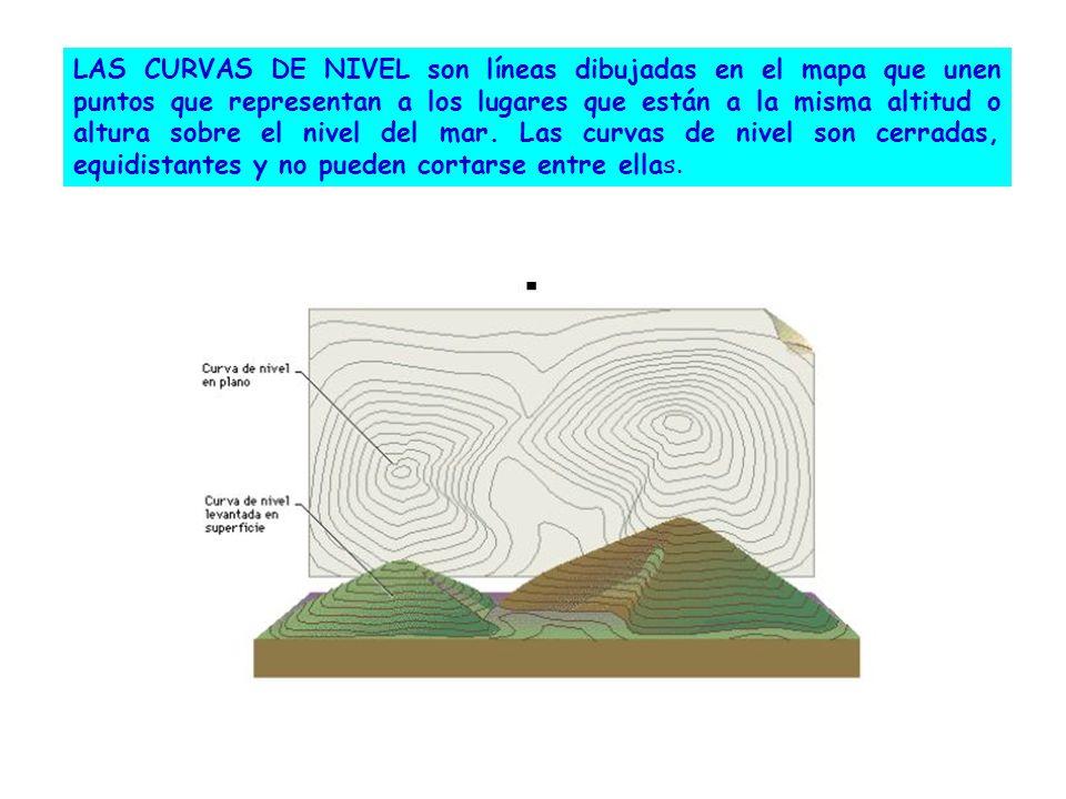 LAS CURVAS DE NIVEL son líneas dibujadas en el mapa que unen puntos que representan a los lugares que están a la misma altitud o altura sobre el nivel del mar.