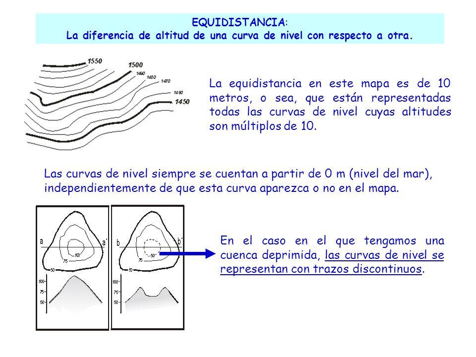 La diferencia de altitud de una curva de nivel con respecto a otra.