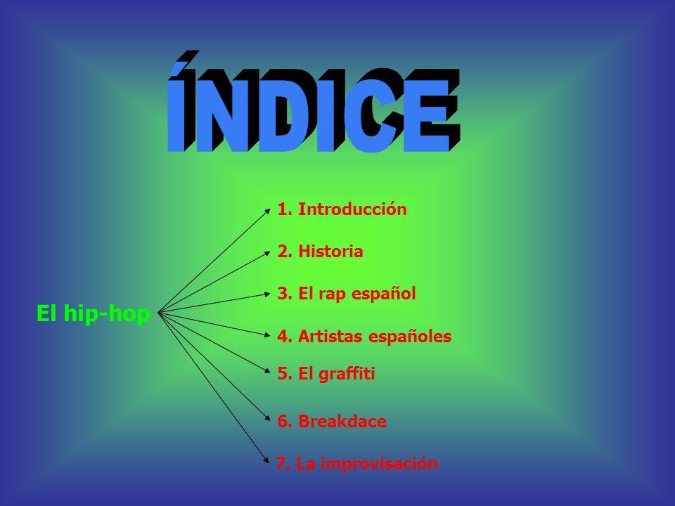 ÍNDICE El hip-hop 1. Introducción 2. Historia 3. El rap español