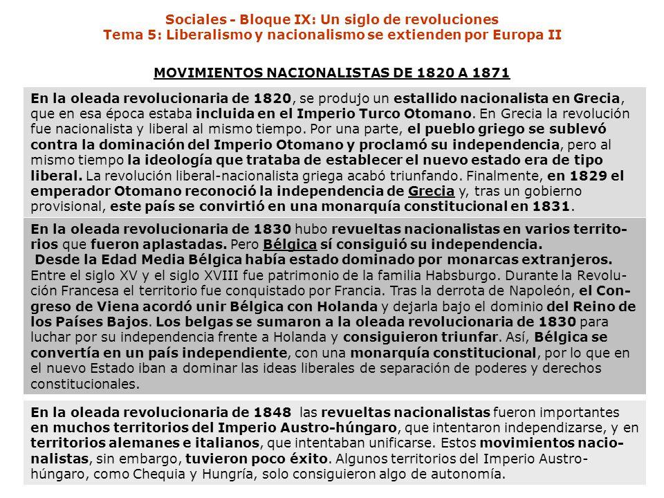 MOVIMIENTOS NACIONALISTAS DE 1820 A 1871