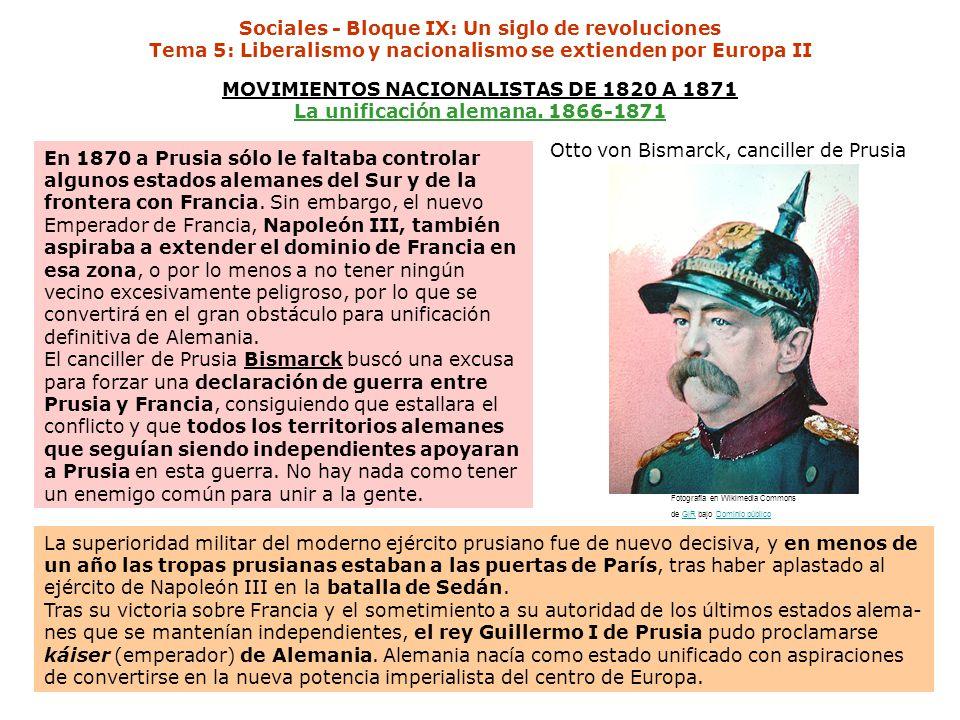 Otto von Bismarck, canciller de Prusia