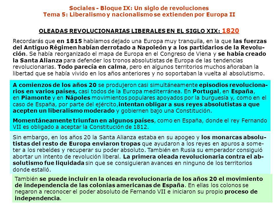 OLEADAS REVOLUCIONARIAS LIBERALES EN EL SIGLO XIX: 1820