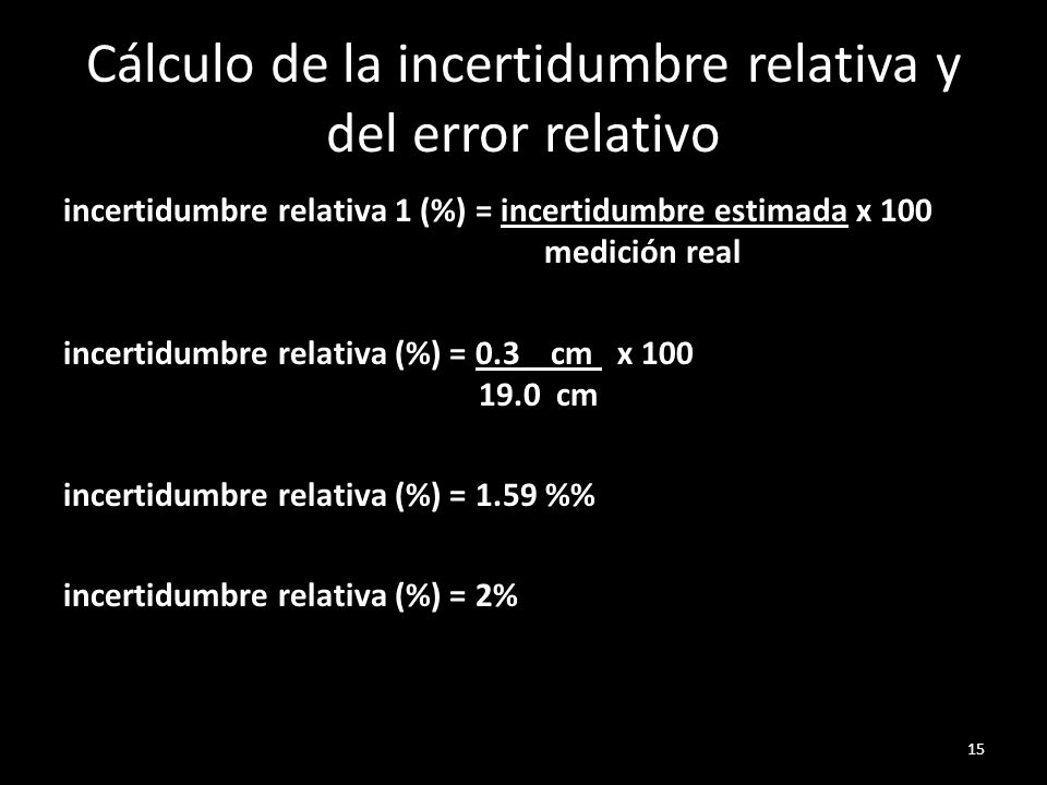 Cálculo de la incertidumbre relativa y del error relativo