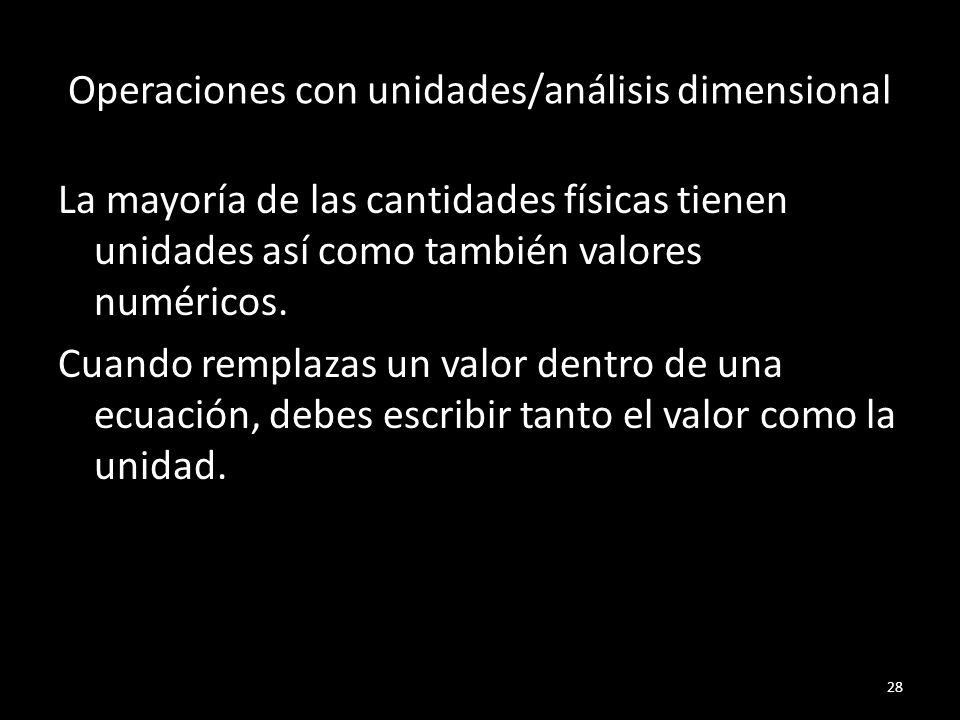 Operaciones con unidades/análisis dimensional