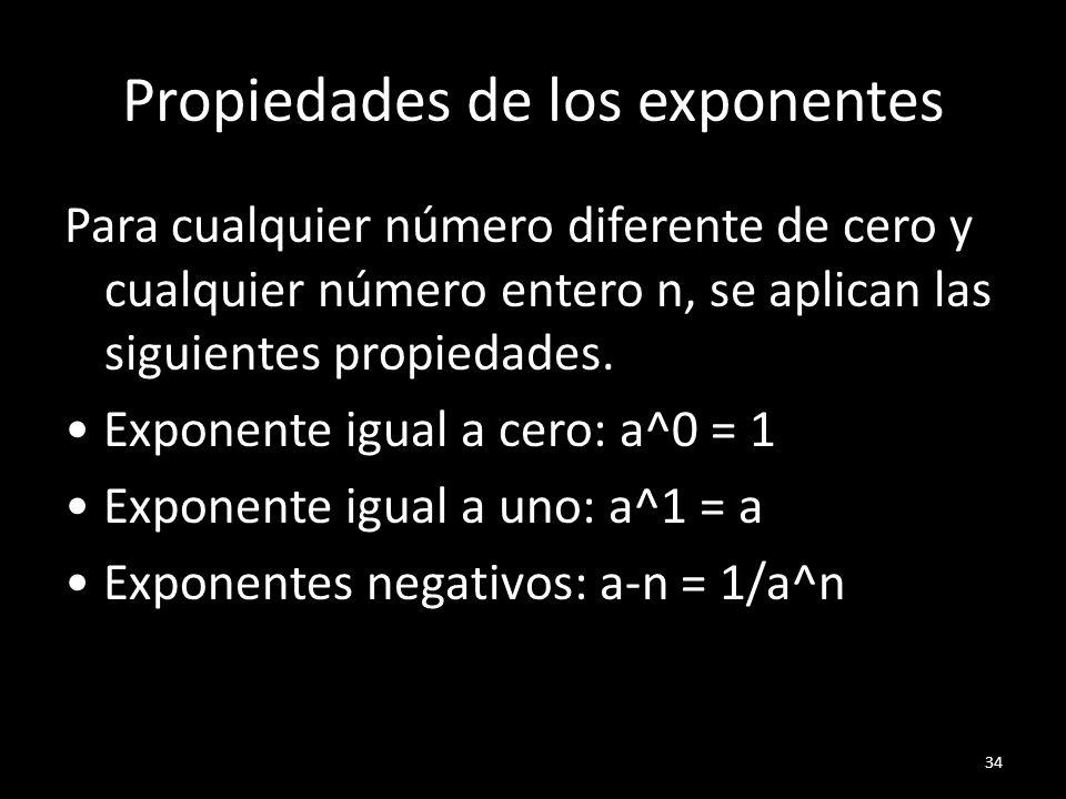 Propiedades de los exponentes
