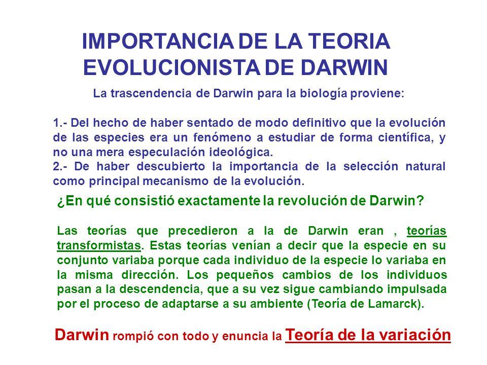 IMPORTANCIA DE LA TEORIA EVOLUCIONISTA DE DARWIN