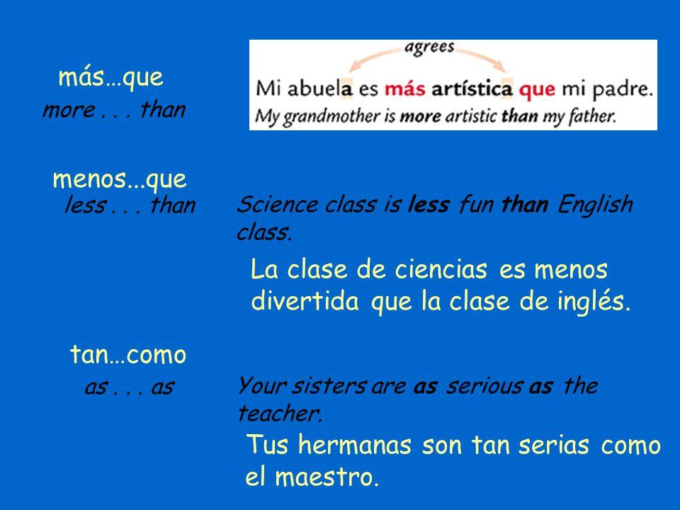 La clase de ciencias es menos divertida que la clase de inglés.