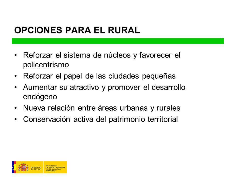 OPCIONES PARA EL RURAL Reforzar el sistema de núcleos y favorecer el policentrismo. Reforzar el papel de las ciudades pequeñas.