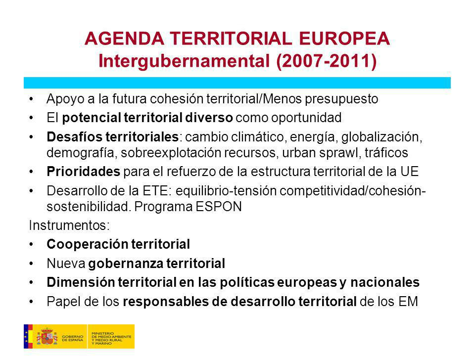 AGENDA TERRITORIAL EUROPEA Intergubernamental (2007-2011)