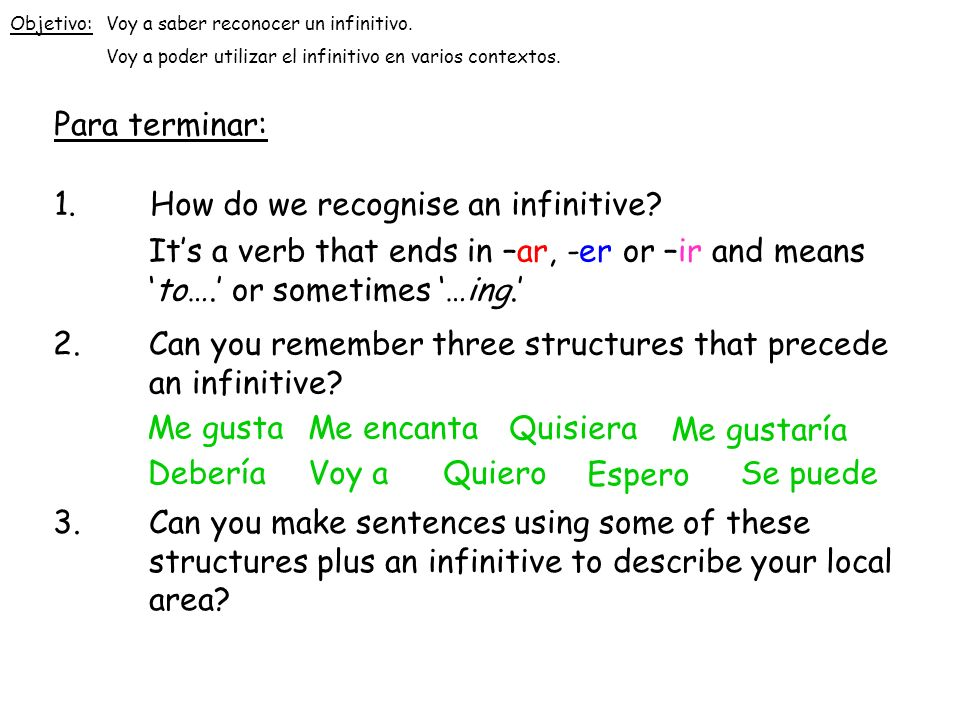 1. How do we recognise an infinitive