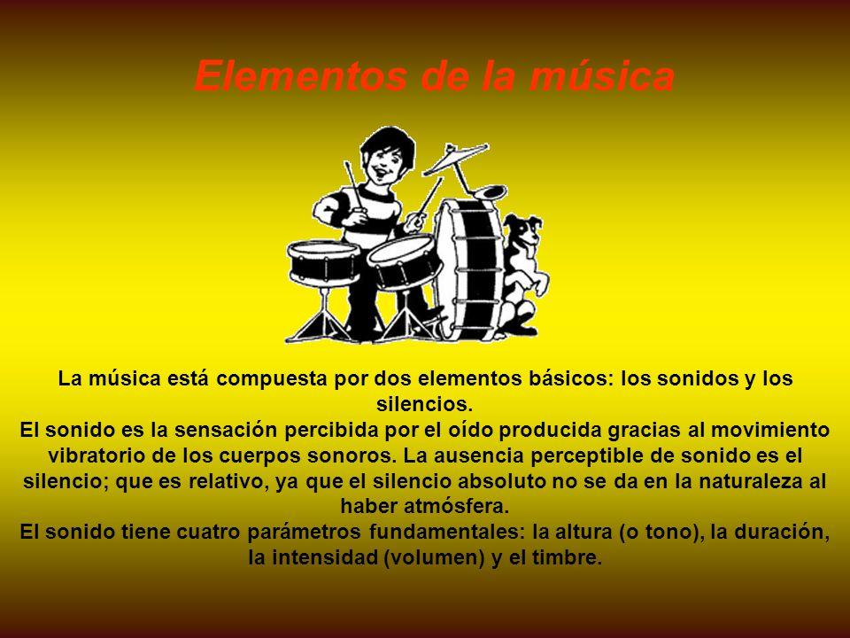 Elementos de la música La música está compuesta por dos elementos básicos: los sonidos y los silencios.