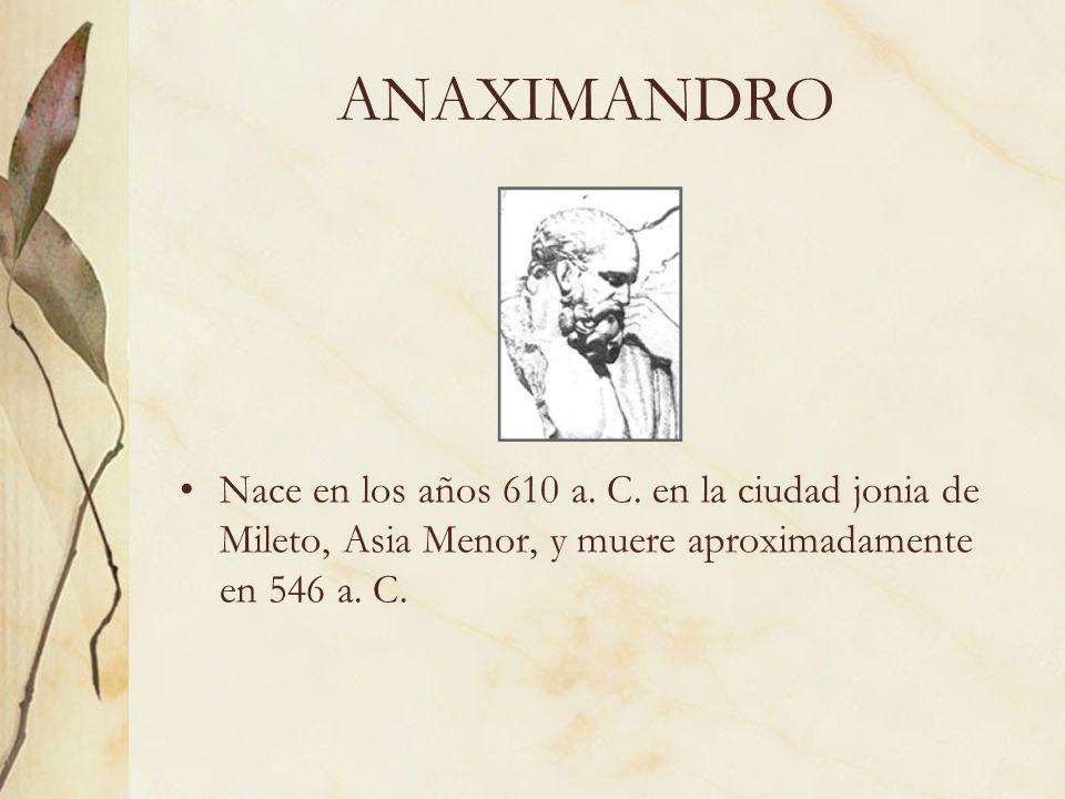 ANAXIMANDRO Nace en los años 610 a. C.