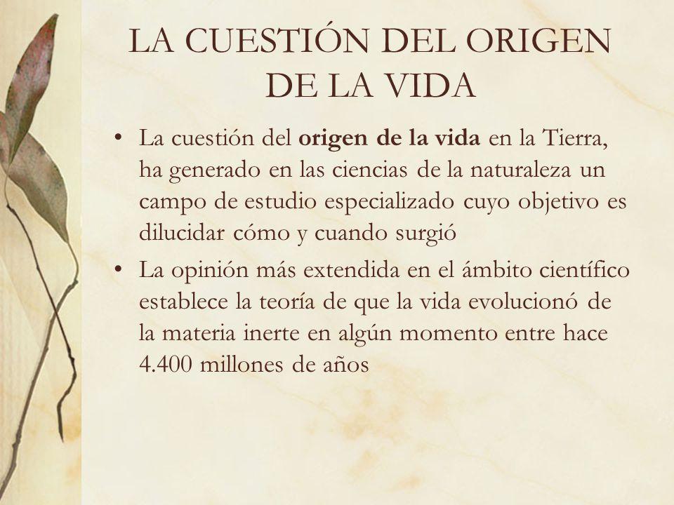 LA CUESTIÓN DEL ORIGEN DE LA VIDA