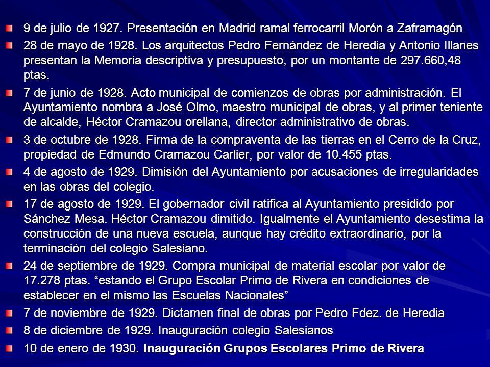 9 de julio de 1927. Presentación en Madrid ramal ferrocarril Morón a Zaframagón