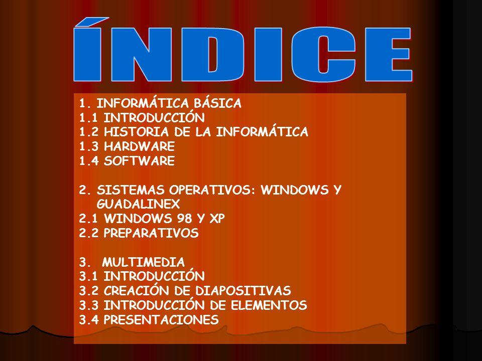 ÍNDICE INFORMÁTICA BÁSICA 1.1 INTRODUCCIÓN