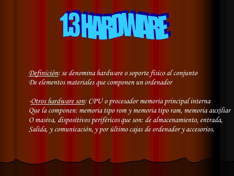 1.3 HARDWARE Definición: se denomina hardware o soporte físico al conjunto. De elementos materiales que componen un ordenador.
