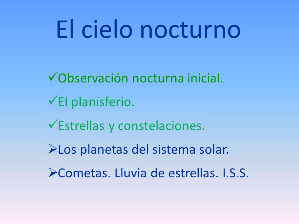 El cielo nocturno Observación nocturna inicial. El planisferio.