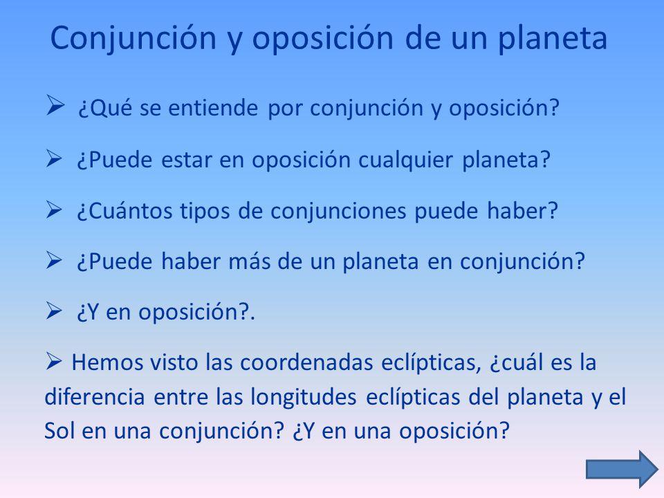 Conjunción y oposición de un planeta