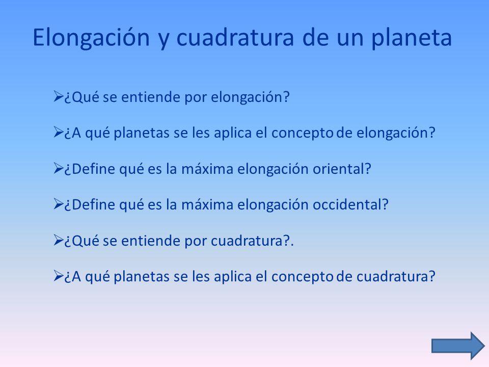 Elongación y cuadratura de un planeta