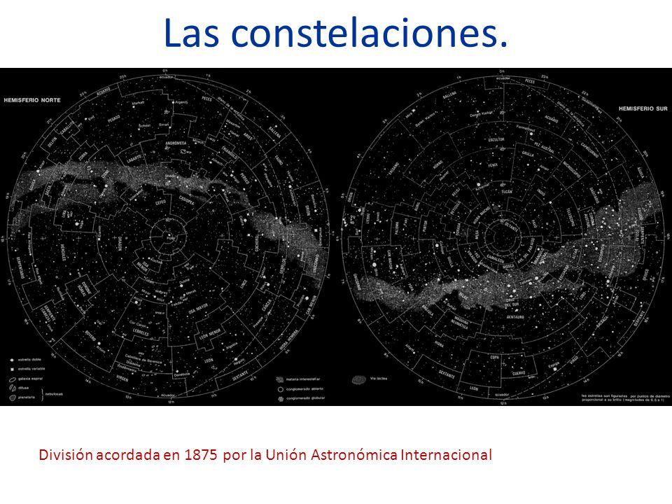 Las constelaciones. División acordada en 1875 por la Unión Astronómica Internacional