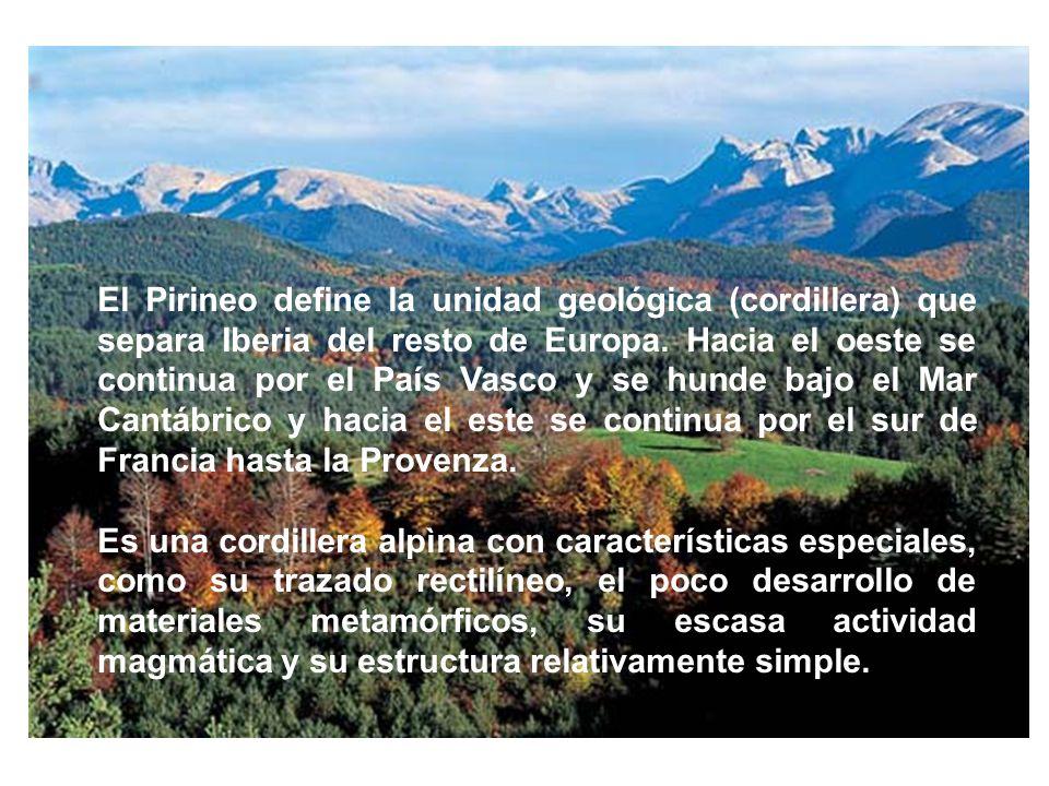 El Pirineo define la unidad geológica (cordillera) que separa Iberia del resto de Europa. Hacia el oeste se continua por el País Vasco y se hunde bajo el Mar Cantábrico y hacia el este se continua por el sur de Francia hasta la Provenza.