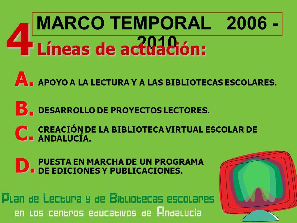 A. B. C. D. MARCO TEMPORAL 2006 - 2010 4 Líneas de actuación: