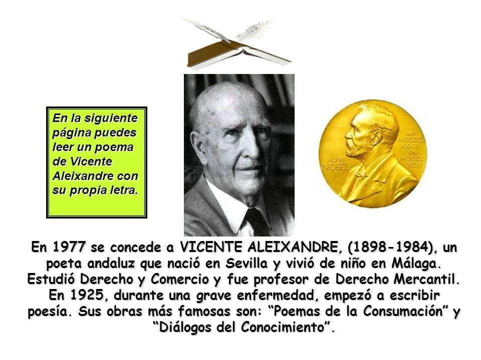 En la siguiente página puedes leer un poema de Vicente Aleixandre con su propia letra.