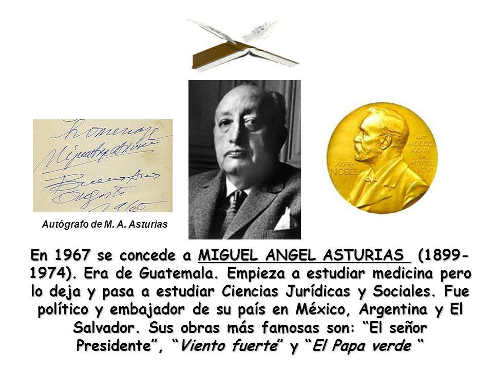 Autógrafo de M. A. Asturias