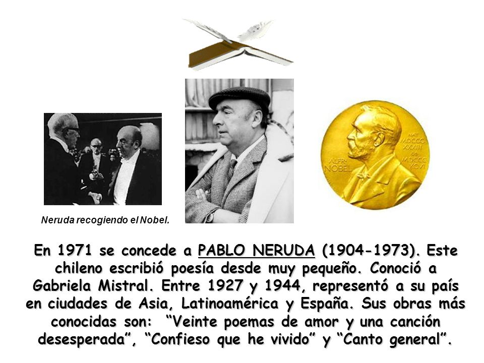 Neruda recogiendo el Nobel.