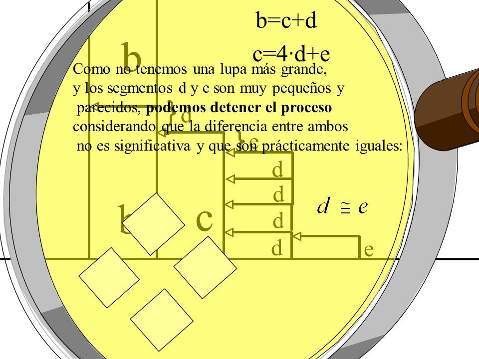 c b b=c+d c=4·d+e d e d d d d e Como no tenemos una lupa más grande,