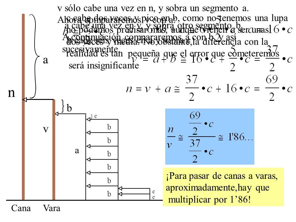 n a v b v sólo cabe una vez en n, y sobra un segmento a.