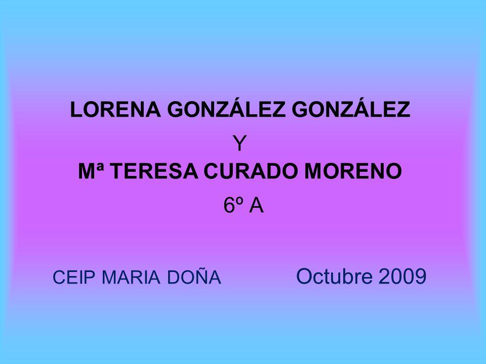 LORENA GONZÁLEZ GONZÁLEZ Y Mª TERESA CURADO MORENO 6º A CEIP MARIA DOÑA Octubre 2009