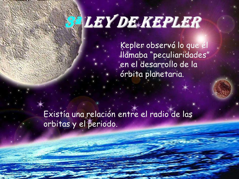 3ª Ley de Kepler Kepler observó lo que él llamaba peculiaridades en el desarrollo de la órbita planetaria.