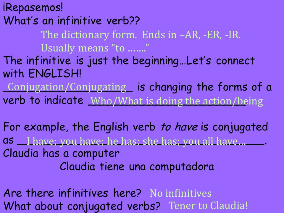 ¡Repasemos. What's an infinitive verb