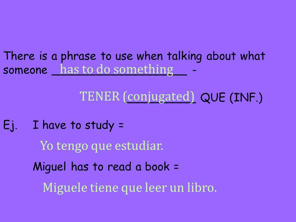 Miguele tiene que leer un libro.