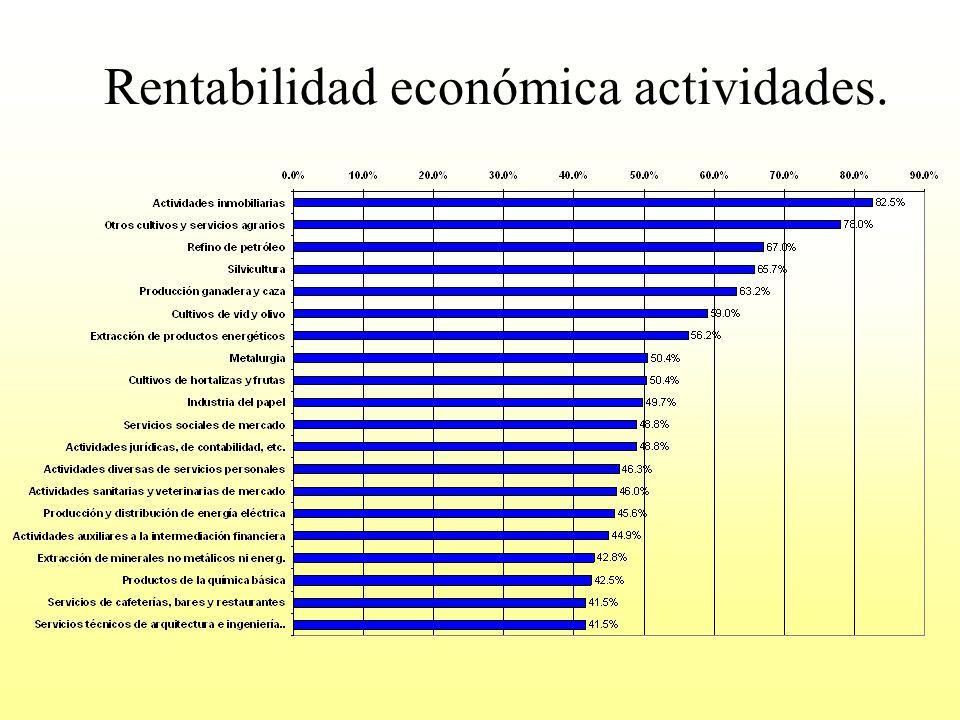Rentabilidad económica actividades.