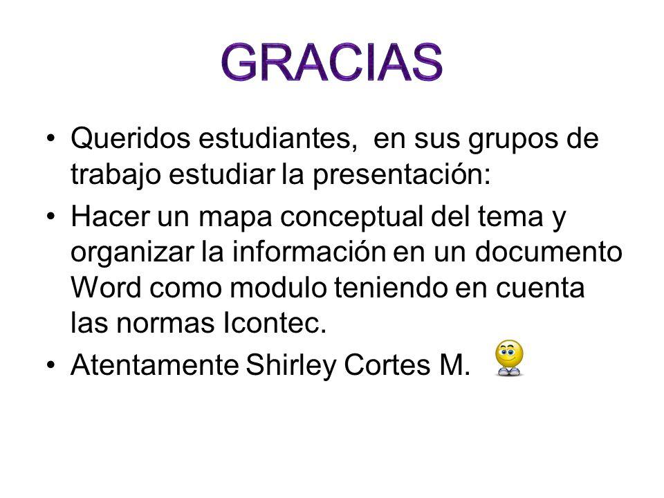 GRACIASQueridos estudiantes, en sus grupos de trabajo estudiar la presentación: