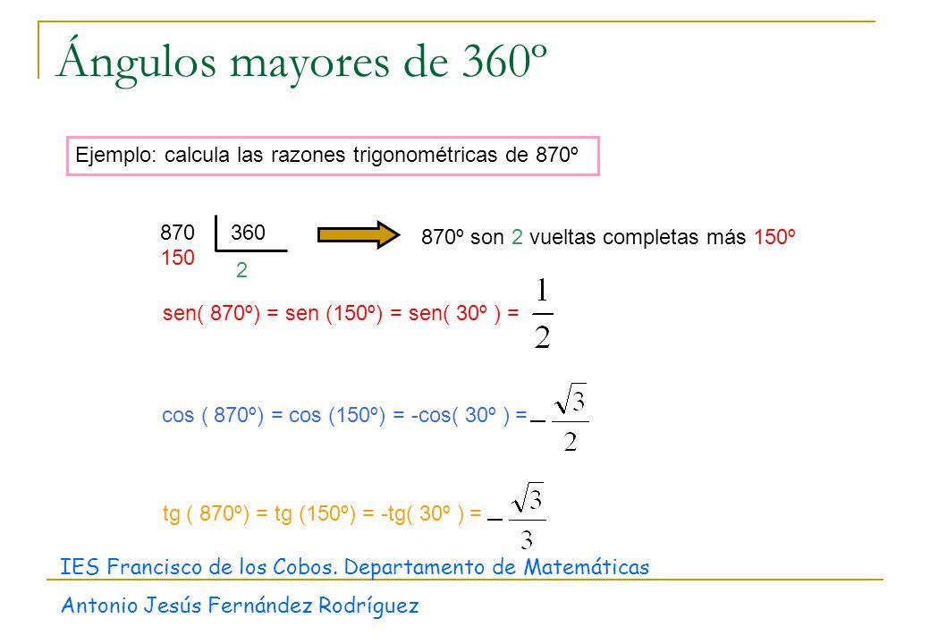 Ángulos mayores de 360º Ejemplo: calcula las razones trigonométricas de 870º. 2. 870. 360. 150.