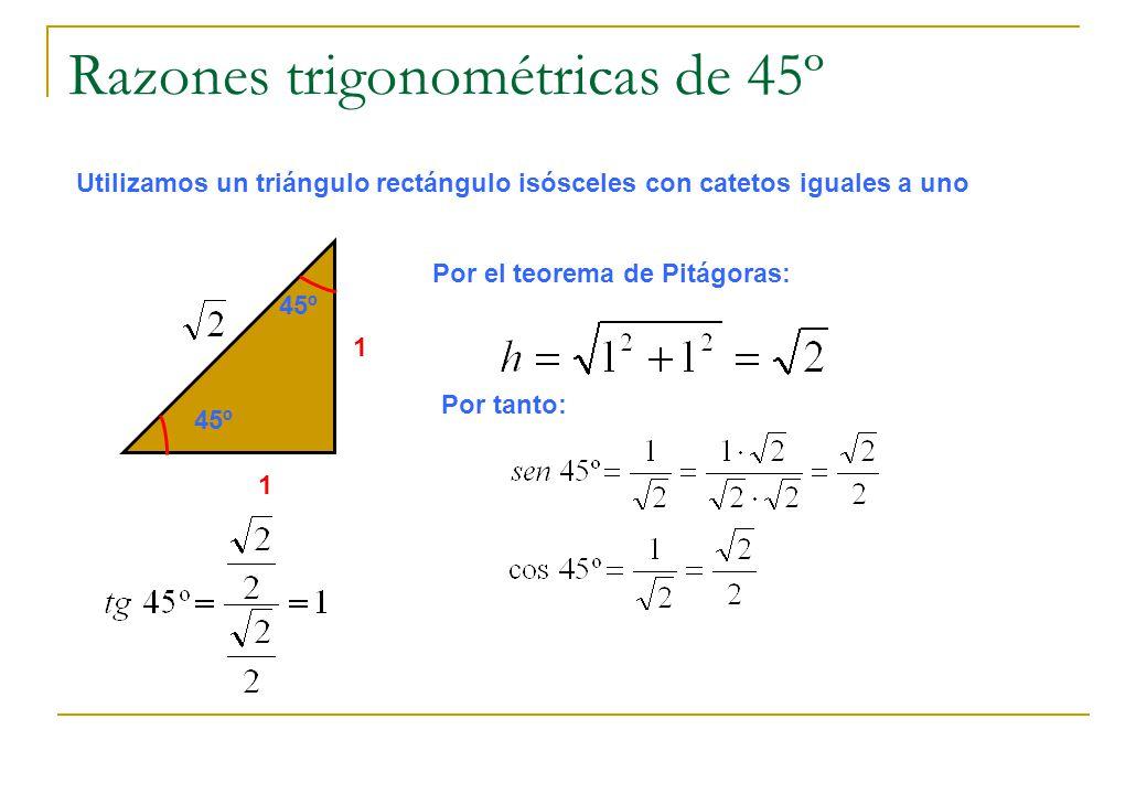 Razones trigonométricas de 45º