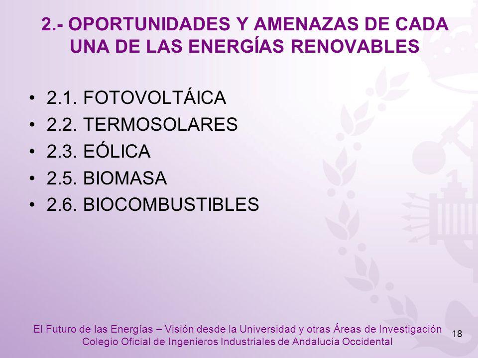 2.- OPORTUNIDADES Y AMENAZAS DE CADA UNA DE LAS ENERGÍAS RENOVABLES