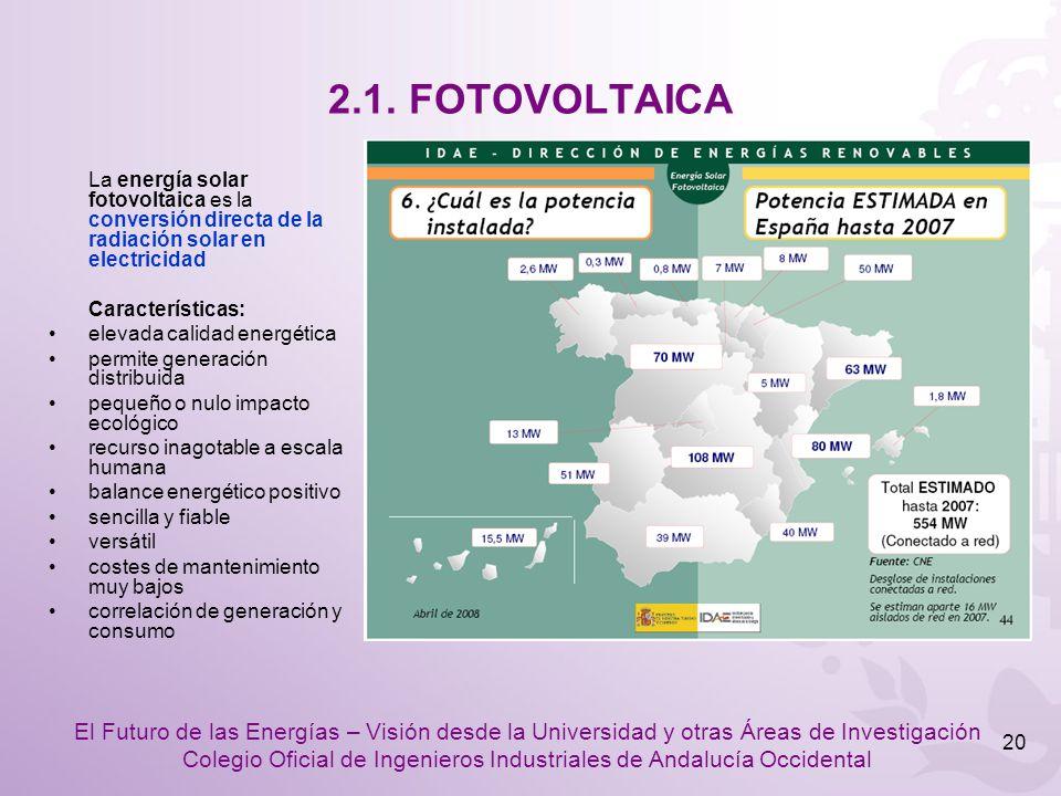 2.1. FOTOVOLTAICA La energía solar fotovoltaica es la conversión directa de la radiación solar en electricidad.